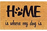 matches21 Fußmatte Fußabstreifer KOKOS Motiv HOME is where my DOG is 45x75x1,5 cm rutschfeste Rückseite Kokosmatte
