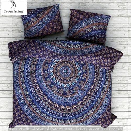 Ganesham artisanale – Indien Tapisserie Dreamscene Couverture couvre-lit, Couette Couvre-lit, indien, Bohemian Couvre-lit, Mandala indien Parure de lit, housse, réversible Doona Coque avec deux décoratif Taie d'oreiller