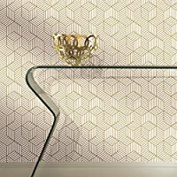 "‏‪RoomMates Gold and White Stripped Hexagon Peel and Stick Wallpaper, 20.5"" x 16.5 feet - RMK10704WP‬‏"