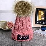 PIXNOR Mujeres Crochet lana Knit Beanie esquí bola tapa holgados cálido invierno sombrero de la boina (rosa)