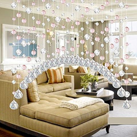 ARC Fini Perle en cristal Rideau Damark (TM) Mode Rideau Cristal de luxe Salon Chambre à coucher fenêtre Porte Mariage, Verre cristal, rose, 1M