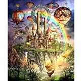 Hotsellhome 5D DIY Crystal Diamond Embroidery Painting Kit Canvas Castle Picture Cross Stitch Arts Craft Supply for Home Wall Decoration, Full Drill, Perfect for Beginners with Paintings Tools