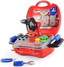 E T Kinder Werkzeug Werkzeugkoffer Kinder Spielzeug Pädagogisches Lernspielzeug Kleine Geschenke für Kinder ab 3 Jahren 19 Stücke