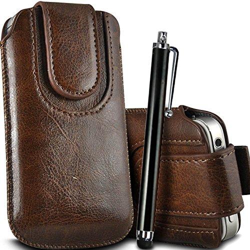 Brun/Brown - Sony Xperia E3 / E3 DUAL Housse et étui de protection en cuir PU de qualité supérieure à cordon avec fermeture par bouton magnétique et stylet tactile pour par Gadget Giant® Brun/Brown & Stylus Pen