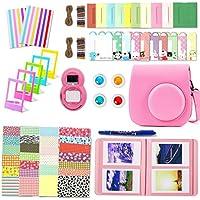 Leebotree Paquete de Accesorios para cámara Fujifilm Instax Mini 9 Incluye: Caso/Album/Lente para Autoretrato/Filtros/Marcos para fotos/Marcos de Películas/Bordes/Pegatinas/Bolígrafo (Rosa Flamingo)