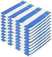 SHAMBHAVI 300 GSM 10 Piece Cotton Hand Towel Set - Blue & White