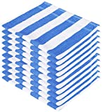 #10: SHAMBHAVI 300 GSM Cotton Hand Towel Set (Blue and White) - 10 Piece