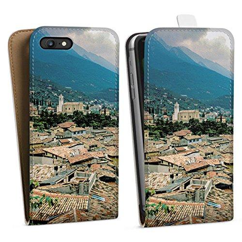 Apple iPhone X Silikon Hülle Case Schutzhülle Dächer Stadtpanorama Häuser Downflip Tasche weiß