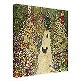 Bilderwelten Leinwandbild G. Klimt Gartenweg mit Hühnern - 1:1 -Jugendstil, 100 x 100cm