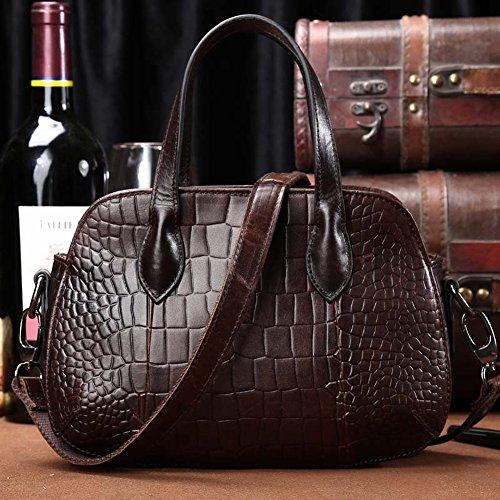 Kaffee Krokodil Tasche (die Erste Schicht aus Rindsleder Weibliche Schulter Messenger Tasche Krokodil Muster Tasche Mini Tasche , dunkler Kaffee)