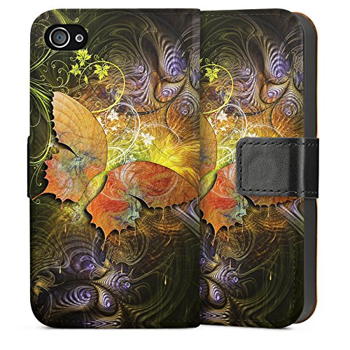 Apple iPhone 4 Housse Étui Silicone Coque Protection Papillons Automne Papillon Sideflip Sac