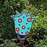 Gartenstecker aus Holz, Beetstecker Blume türkis