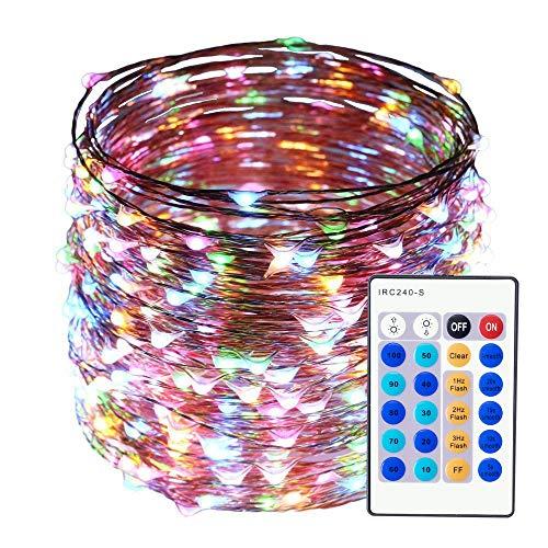 Luci a catena 500 LEDs 50 metri, Luci di Natale Filo di rame All'aperto, Luci Di Stringa Decorazioni per alberi di Natale, Giardino, Interno, festa, Matrimoni (Multicolore)