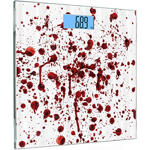 ise Sensoren Digitale Körperwaage Blutiges Set Gehärtetes Glas Personenwaage, Blutspritzer Grunge-Stil Blutfleck Horror Unheimlich Zombie Halloween-Motivdruck, Stra ()