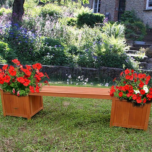 Melko Gartenbank 2in1 mit Zwei Blumenkästen Blumenkübel Pflanzkübel aus Holz, 180 x 40 x 40 cm, Braun - Stilvolles und Zeitloses Design