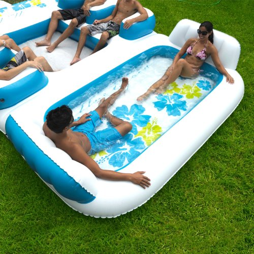new giant inflatable floating island 6 person raft pool. Black Bedroom Furniture Sets. Home Design Ideas