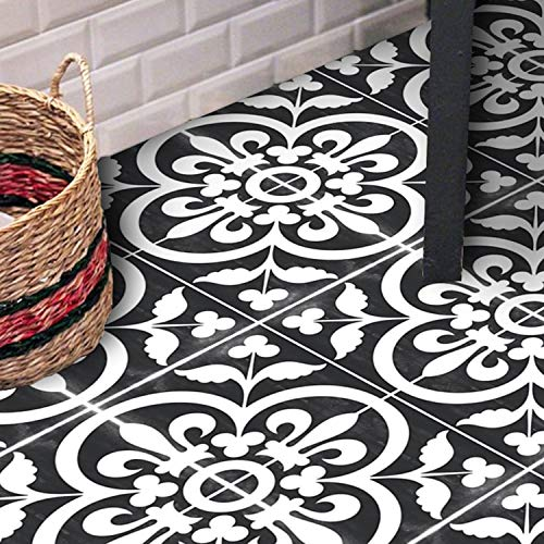 Sticker Tile Stickers Floor Floor Decals Carreaux Ciment Encaustic Corona Floor Panel In Black Peel & Stick Vinyl Adhesive Tiles(Set 12 Units) (Peel-stick Vinyl)