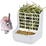 Alimentador de conejo, conejo, comedero de heno, alimentador de heno, comedero de heno y alimentos, bandeja de pesebre para c
