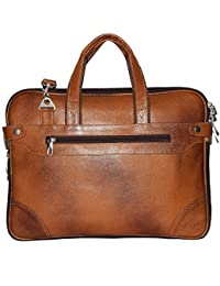 High Touch Leather 15 Inch Leather Laptop Bag For Men And Women (Color Tan)