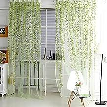 QHGstore Porta Nuova finestra Decor cortina di Drape Pannello di vimini voile sciarpa pura Valance, contiene solo la finestra di screening, che non includono le tende verde