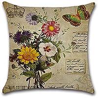 Decorativa almohada Vintage Rose flores primavera impresión Impreso Sofá Decoración Cojín Caso agarre Bar Funda de almohada cojín de móvil Salón Mariposa vintage