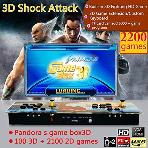 Funihut Pandora Box, 2200 in 1, Console di Gioco Video Consolle Pandora Box 3D 100 3D + 2100 Spiderman Style Home Retro TV Fighter