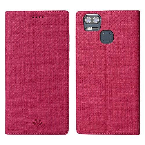 Feitenn Asus ZenFone 3 Zoom ZE553KL Hülle,Premium PU Leder Tasche Wallet Flip Case Schutzhülle mit Kartenfächer Standfunktion PU Cover TPU Bumper Magnetisch Stand Cover für ZF3 Zoom ZE553K, Red
