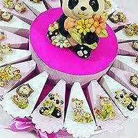 TORTA BOMBONIERA per nascita battesimo 1 compleanno BIMBA composta da fette con panda, gatto, cane, elefante, leone(Dimensione: 4 cm circa) + centrale panda salvadanaio (Dimensione: 14 cm circa) IDEALE PER eventi come battesimo nascita 1 comp...