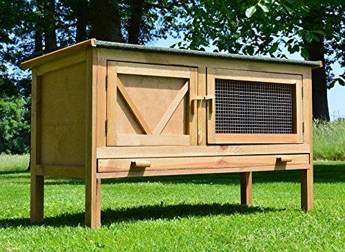 Zooprimus Conigliera in legno Resistente conigliera in legno con tetto apribile e due porte battenti di cui una con filo zincato cassetto 118 x 45 x 69 cm Hasi 024