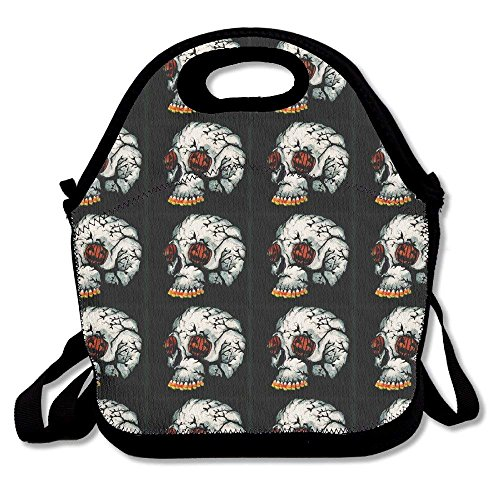 Men Women Teens Food Lunch Tote Halloween Pumpkin Skull Picnic Travel Portable Reusable Handbag Bags Boxes Lunchbox Outdoor Totes -