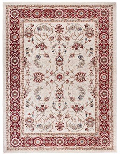 Perser Antik Teppich (We Love Rugs - Carpeto Traditioneller Klassischer Teppich für Ihre Wohnzimmer - Weinrot Beige - Perser Orientalisches Antik Ziegler Ornamente Top Qualität Pflegeleicht AYLA 160 x 220 cm Groß)
