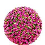 Erba Artificiale Palla Rosa Rosso Topiary Sfera Effetto Foglia,30Cm