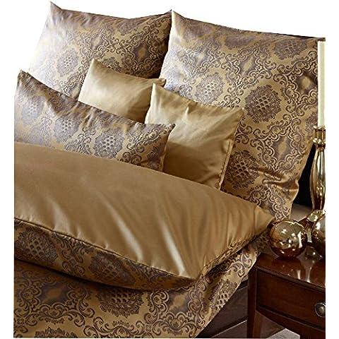 Curt Bauer diseño de acero de Damasco de ropa de cama de Bolonia de gran tamaño de 140 x 200 + 70 x 90 cm de colour de la sombra de oro