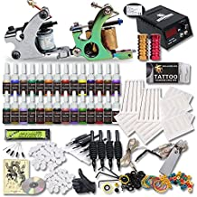 Great Tattoo Kit 2 Pro Machine Guns 20 Inks CE Power Supply Foot Pedal Needles Grips Tips aftercare cream DS-M1