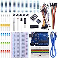Arduino Starter kit con Tutorial, Scheda Uno R3, Sensore di Fiamma, Display a 7 segmenti a 1 cifra, Scheda di Resistenza, Scheda di Test, 65 Cavi Ponte Totali 147 pezzi in Scatola (UA002) UNIROI
