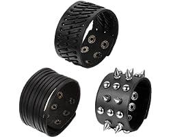 OIDEA Juego de 3 pulseras de piel para hombre, estilo punk rock, 3,5 cm - 4,1 cm de ancho, trenzadas, hechas a mano, con cord