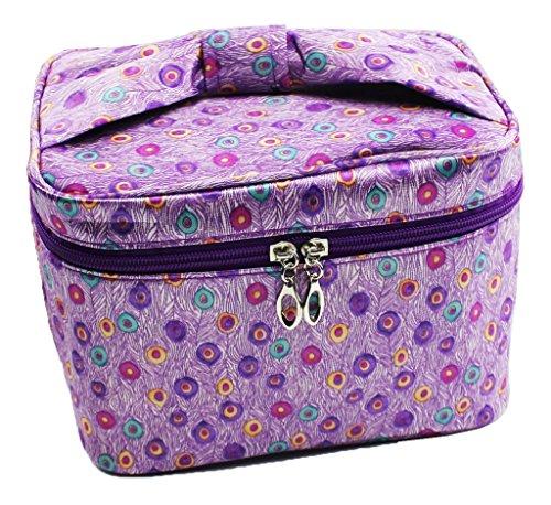 Portable Piazza Cosmetics Bag Caso Truccotessuto Borsa Da Toilette Raso Borsa Lavare Carino Stampa Con Maniglia Accessori Viaggio- viola-punti colorati