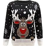 ZEE FASHION Womens Rudolph Reindeer Print Snowflake Christmas Jumper