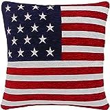 2 X STERNE UND STREIFEN, AMERIKANISCHE FLAGGE, CHENILLE, ROT/WEISS/BLAU, 45.72 CM KISSENBEZUG