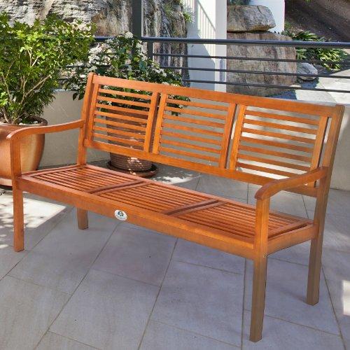 Ultranatura Gartenbank 3-Sitzer, Canberra – Serie – Edles & Hochwertiges Eukalyptusholz FSC zertifiziert – 158 cm x 61,5 cm x 89 cm - 7