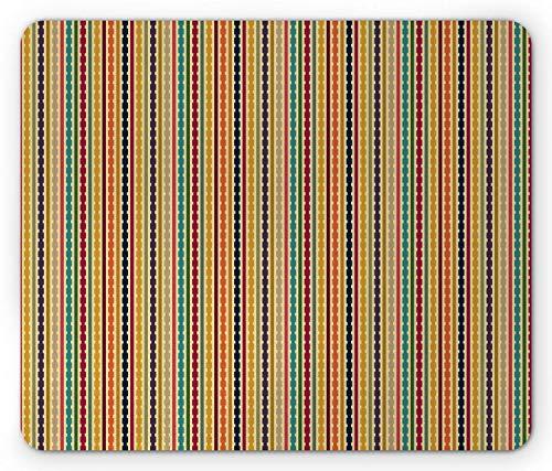 Streifen-Mausunterlage, Regenbogen farbige geometrische Formen Vertikale Anordnung Simplistic-Form-Muster, Standardgrößen-Rechteck-rutschfestes Gummi-Mousepad, Mehrfarben,Gummimatte 11,8