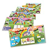 Junior Learning Rainbow Phonics Word Farm Landscapes Vibrant Magnetic Learning Landscape Boards (Set of 6)