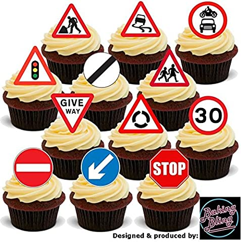 12 x Road Signs Mix Learner Driver - Fun Novelty Birthday PREMIUM STAND UP Edible Wafer Card Cake Toppers