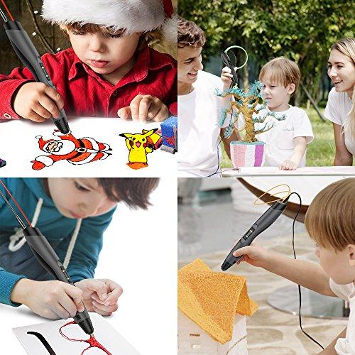 3D Stift, Aerb 3D Pen Stift mit 1,75mm PLA/ABS Filament, 8 Einstellbare Geschwindigkeit mit LCD-Bildschirm 3D Printing Pen für Kinder Erwachsene, Bestes Geschenk für DIY, Kritzelei, Zeichnung und Kunst & Handgefertigte Werke - 6