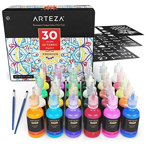 ARTEZA Pinturas para tela en 3D | Caja de 30 colores permanentes para pintar telas, lienzos y otros materiales | 30 Frascos de pintura textil