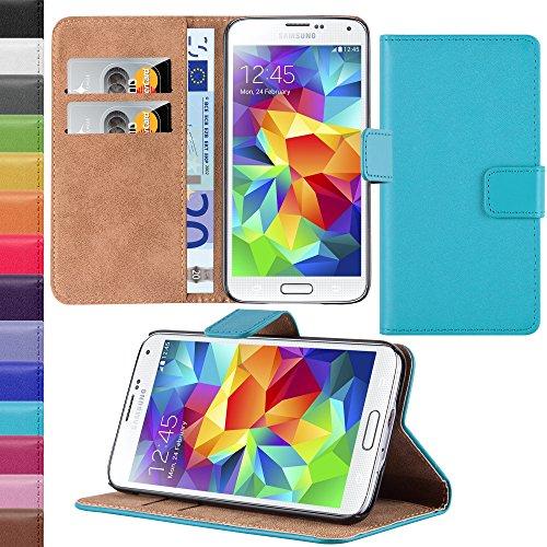 HANDYPELLE Tasche kompatibel mit Samsung Galaxy S5 im Bookstyle in Türkis - Handytasche Case Wallet Hülle Handyhülle Schutzhülle