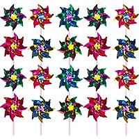 Hestya Molinillos de Viento de Arco Iris de Plástico, Molinillos de Viento de Fiesta Molino de Viento de Arco Iris de DIY Juego para Juguetes de Niños Decoración de Jardín, 36 Piezas (15 cm