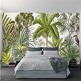 Guyuell Tapete-Tropische Pflanzen-Grün-Kokosnuss-Bäume Specht-Hintergrund-Wand-Papier-Restaurant-Wohnzimmer Papel De Parede 3D Wandgemälde-400Cmx280Cm