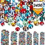 3456 Pezzi Strass per Unghie Cristalli AB Strass di Nail Art Rotondo Perle Miste Vetro Posteriore Piatto Charm Pietre Preziose, 6 Formati per Unghie Decorazione Scarpe da Trucco (Multicolore, Misto SS4 5 6 8 10 12)