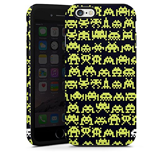 Apple iPhone 5 Housse Étui Silicone Coque Protection Sapce Invaders Alien Motif Cas Tough terne